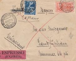 Italie Lettre Par Exprès Pour L'Allemagne 1937 - Storia Postale