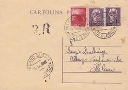 ITALIA - ALLEGHE (BELLUNO) - INTERO POSTALE RACC. - C. 50 CON F.LLI AGGIUNTA - VIAGGIATO PER  MILANO - 5. 1944-46 Lieutenance & Humbert II: