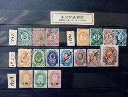 LEVANT RUSSE.  1872 à 1909. N°13 à 36. 17 Timbres (10 Neufs/ 7 Oblitérés).Côte 33,80 €. - Levant