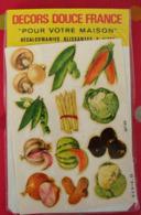 Décalcomanies 1960-70. Décors Douce France. Transfert Décalcomanie. 99. Légumes Champignon Pastèque Cacahuète Salade - Old Paper
