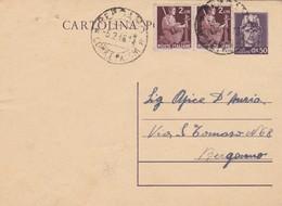 ITALIA - BERGAMO - INTERO POSTALE- C. 50 CON F.LLI AGGIUNTA - VIAGGIATO PER BERGAMO - 5. 1944-46 Lieutenance & Humbert II: