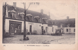 """23-NOUZIERS (Creuse) - La PLACE- """"EPICERIE-MERCERIE"""" Et """"CAFE BEZICOT"""" Ecrite -Timbrée -1909 - (16/4/20) - France"""