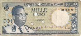 CONGO 1000 FRANCS 1964 VF BILLET PERFORE P 8 - Zonder Classificatie