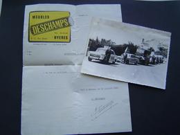 PHOTOGRAPHIE Ancienne 1968 : MEUBLES DESCHAMPS / AUTOMOBILE PEUGEOT 404 - 403 - TUB CITROEN à HYERES ( VAR ) - Publicités