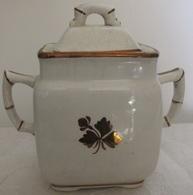 Sucrier En Porcelaine Entre 1891-1897 Royal Ironstone China Alfred Meakin England Feuille Antique De Thé En Cuivre - Alfred Meakin