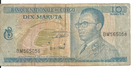CONGO 10 MAKUTA 1967 VG+ P 9 - Zonder Classificatie