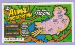 MONOPOLI DI STATO GRATTA E VINCI ANIMALI PORTAFORTUNA 1° SERIE USATO - Lottery Tickets