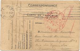 CARTE FM MENTION DEPOT PRISONNIERS GUERRE FRANCAIS SOFIA BULGARIE BULGARIA 1919 POUR LYON VIA LAUSANNE SUISSE RARE - Military Postmarks From 1900 (out Of Wars Periods)