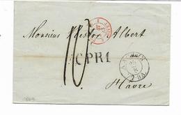 1843- AACHEN -cachet Rouge PRUSSE  GIVET- Marque CPR1 -lettre Taxe 10 Vers LE HAVRE FRANCE  Cachet Au Dos  2 Scans - Germania