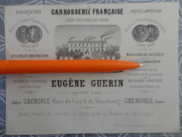 CATALOGUE CARTE DE VISITE VOITURE A CHEVAL CARROSSERIE FRANCAISE EUGENE GUERIN RUE DU GAZ GRENOBLE  1872 - Francia