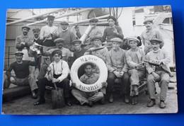 RPPC Marins Sur Bateau Navire MÉDOC MARSEILLE Photographie Photo Originale-Photographie Photos Photo Originale Bateaux - Bateaux