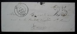 Gençais 1853 (Gençay, Vienne)  Lettre Taxée 25 Pour Poitiers - 1849-1876: Période Classique