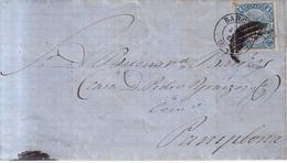 Año 1865 Edifil 75 4c Sello Isabel II  Carta De   Barcelona A Pamplona , Matasellos Barcelona 2 Membrete R.Comerma - 1868-70 Gobierno Provisional