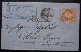Aix En Provence 1865, Severin Avril Avec 40 Centimes Orange Pour L'Isle Sur Sorgues (Vaucluse) - 1849-1876: Klassieke Periode