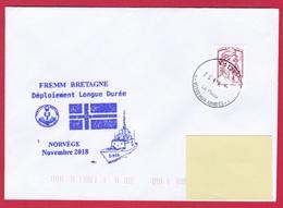 4658 Marine, FREMM Bretagne, Déploiement De Longue Durée, Escale à Narvik, Norvége, Oblit. Manuelle Circulaire V SPID 11 - Naval Post