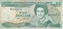 BILLETE DE EASTERN CARIBBEAN CENTRAL DE 5 DOLLARS  DEL AÑO 1985 (BANKNOTE) - Caraibi Orientale
