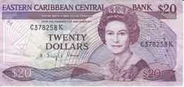 BILLETE DE EASTERN CARIBBEAN CENTRAL DE 20 DOLLARS  DEL AÑO 1988 (BANKNOTE) - Caraibi Orientale