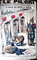 ANTISEMITISME AFFAIRE DREYFUS ZOLA HUMILIE  LE PILORI 1898 CARICATURE FEROCE ANTIDREYFUSARDE JUDAICA PLI TRES  FRAGILE - Unclassified