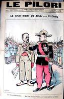 ANTISEMITISME AFFAIRE DREYFUS ZOLA DEGRADE LE PILORI 1898 CARICATURE FEROCE ANTIDREYFUSARDE JUDAICA PLI TRES  FRAGILE - Unclassified