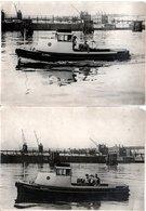 """2 Grandes Photos Originales Bateau à Moteur """" ELLERHOLZ """" En Ballade Dans Le Port De Commerce & Grues 1940/50 - Boten"""