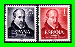 ESPAÑA SERIE DE 2 SELLOS AÑO 1961 IV CENTENARIO DEL NACIMIENTO DE LUIS DE GONGORA Y ARGOTE - 1961-70 Nuevos & Fijasellos
