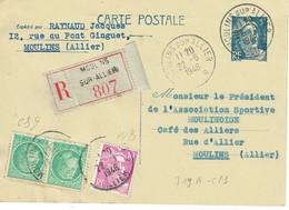 719 B - CP1 Entier Postal Type Gandon 5 F. Bleu Recommandé Avac En Complément 2 Céres 680 + 1 Gandon Violet 10 F - Entiers Postaux