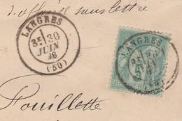 1878 / Sage N°64 SSL / Cachet De Langres 52 / De Magnier Agréé / Pour Fouillette à Lamarche 88 - Marcophilie (Lettres)
