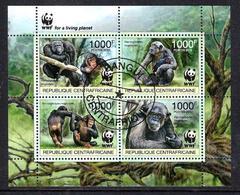 Animaux Chimpanzés WWF Centrafrique 2012 (331) Série Complète Yvert N° 2392 à 2395 Oblitérés Used - Chimpancés