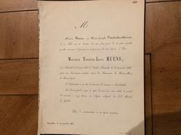 Theodore Louis Huens *1812 Bierbeek +1861 Bruxelles Anderlecht Marie Avec Vandenkerckhoven Marie-Josèphe BruxelBoutersem - Décès