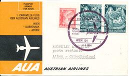 Austria First AUA Flight Cover Wien - Dubrovnik - Athen 4-4-1964 - AUA-Erstflüge