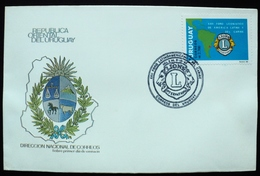 1992 URUGUAY  FDC POSTMARK  FLAMME LIONS LION LEONISMO LIONISM LEONISM FORUM FORO - Uruguay
