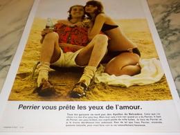 ANCIENNE PUBLICITE LES YEUX DE L AMOUR PERRIER  1972 - Perrier
