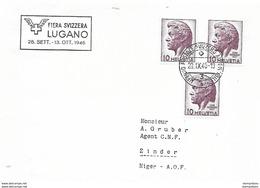 "121 - 39 - Enveloppe Avec Oblit Spéciale ""Fiera Svizzera Lugano 1946"" - Marcophilie"