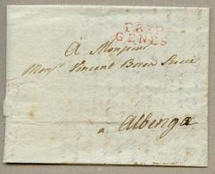 """P.87.P / GENES (rouge) 27 X 10 Pour Albenga Avec Dateur """"SEPTEMBRE"""" Au Verso à L'arrivée Complété Du 26 Manuel En 1809 - 1792-1815: Dipartimenti Conquistati"""
