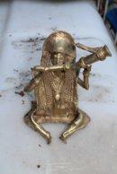 Bronze Africain Représentant Un Musicien - Art Africain