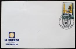 2001 URUGUAY FDC POSTMARK FLAMME Bicent. DOLORES CITY- Granero Del País- Barn Country- Trigo Wheat Iglesia Church église - Uruguay