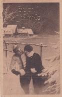 BUON ANNO. COUPLE EN HIVER, WINTER, PAREJA ROMANTIQUE. ITALIE CPA CIRCULEE 1919 ROMA A GENOVA -LILHU - Nieuwjaar