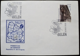 2001 URUGUAY FDC POSTMARK FLAMME Bicentenario De Belén - Belen Village Bicentennial - Mapa Map Carte - Uruguay