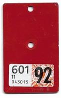 Velonummer VIGNETTE Nach Den Velonummern Solothurn SO 92 - Number Plates