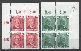 Drittes Reich , Nr. 604-05 , Postfrische Viererblöcke - Ungebraucht