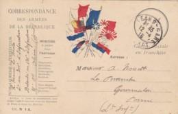 Correspondance Des Armées De La République / Carte Postale En Franchise / 7 Drapeaux - Franchise Militaire (timbres)