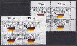 1477-1478 Deutsche Einheit 1990: Satz ER-Viererblöcke Oben Rechts, ESSt Bonn - [7] République Fédérale