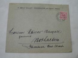 Jngersheim Ingersheim  Occupation Alsace Obliteration Sur Lettre Timbre - Marcofilia (sobres)