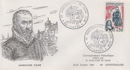 Enveloppe  FRANCE   Ambroise  Paré     LIONS  CLUB  LAVAL    1965 - Rotary Club