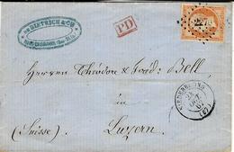 1862- Lettre De NIEDERBRONN ( Bas-Rhin ) Cad T15affr. N°16 ( 4 Marges ) Oblit. Pc 2270 Pour La Suisse - Marcophilie (Lettres)