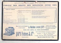 Beaucourt (90 Belfort) Et Paris: Carton JAPY Sur Les Droits De Donation / Succession C1920 ( PPP11830) - Advertising