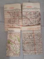 4 Cartes état Major Allemandes 2e GM Chateauroux Tours / Sens Caen Rouen - 1939-45