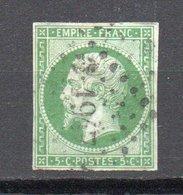 - FRANCE N° 12 Oblitéré Losange PC 1947 - 5 C. Vert Type Napoléon III 1854 - Cote 95 EUR - - 1853-1860 Napoleone III