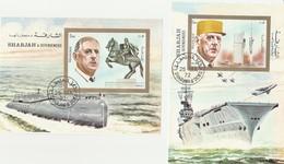 Sharjah- 2 Blocs Général De Gaulle - Le Redoutable Et Le Porte Avion Charles De Gaulle Année1972 - Mi BL 95 Et BL 96 - Sharjah