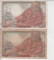 FRANCE  -  20 F PECHEUR  -  LOT DE 8 BILLETS  - - 1871-1952 Anciens Francs Circulés Au XXème
